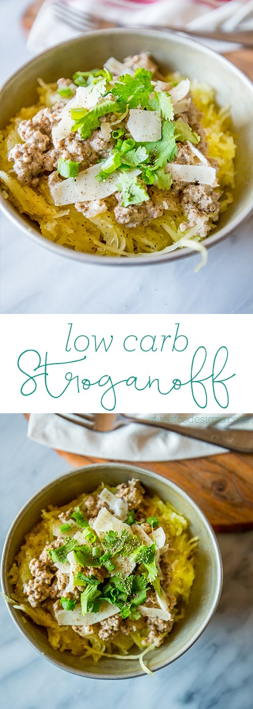 Low carb stroganoff- this delicious lightened up dish is an easy, one-pot family pleaser!