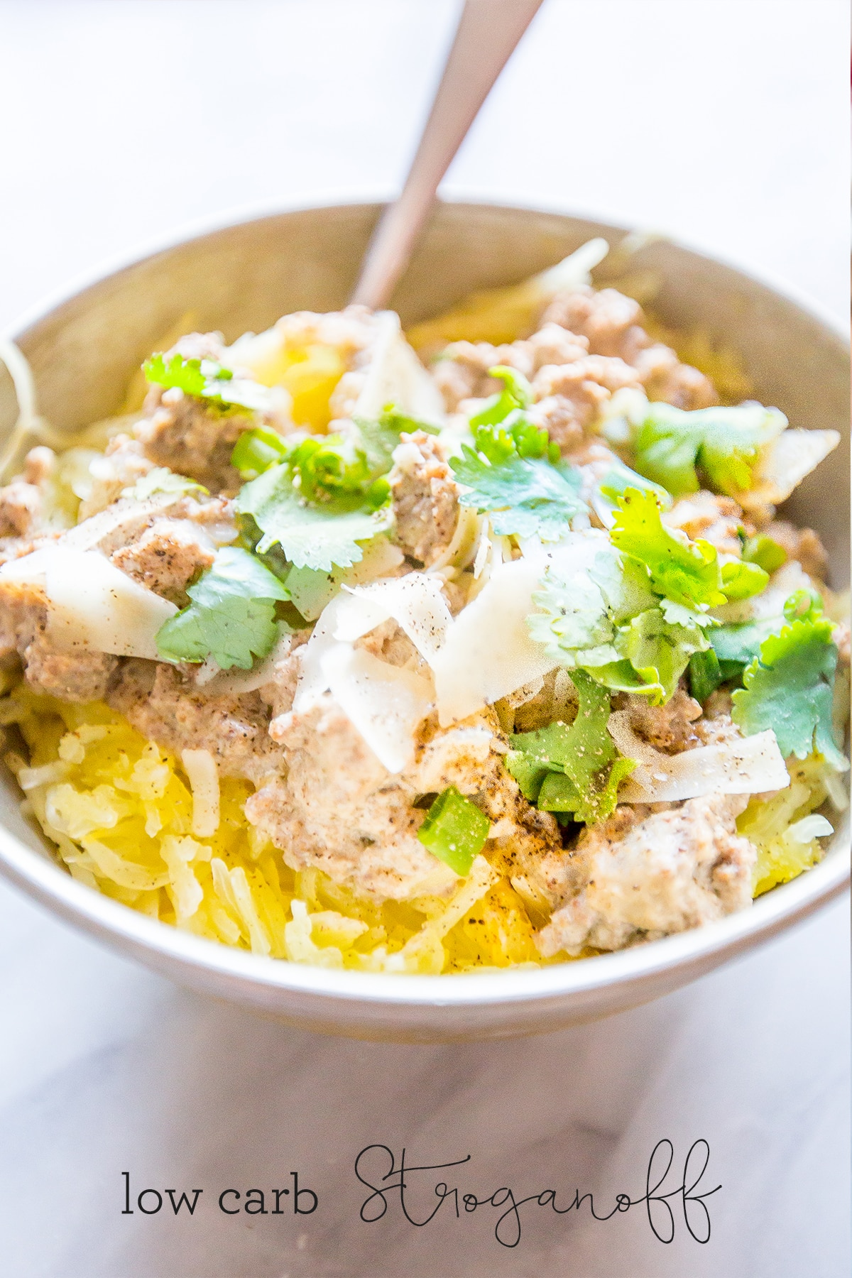Spaghetti squash beef stroganoff- AKA the most delicious dinner ever that's actually healthy!