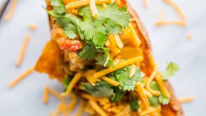 Chicken Green Chili Stuffed Sweet Potatoes