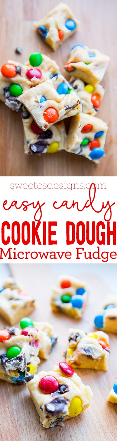 Easy cookie dough fudge with m&ms- this is delicious!