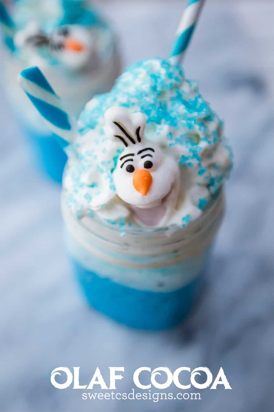 I love this blue tinted white chocolate cocoa- complete with Olaf candies!