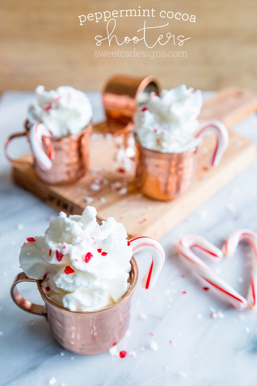 Peppermint cocoa shots- these are festive and delicious! Non Alcoholic version, too!