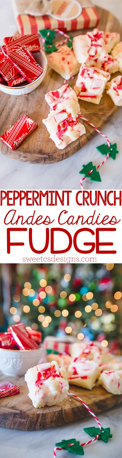 Peppermint crunch andes candy fudge - this is a delicious easy gift for friends and neighbors!
