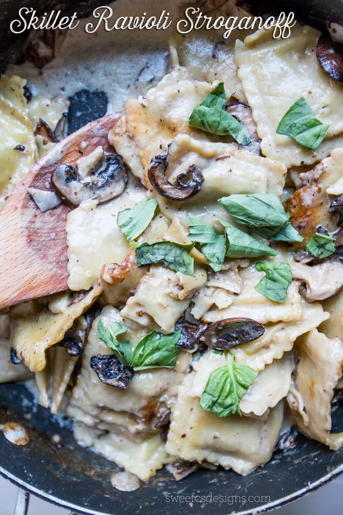Skillet ravioli stroganoff- this delicious, meaty dish is so easy to make in under 15 minutes!