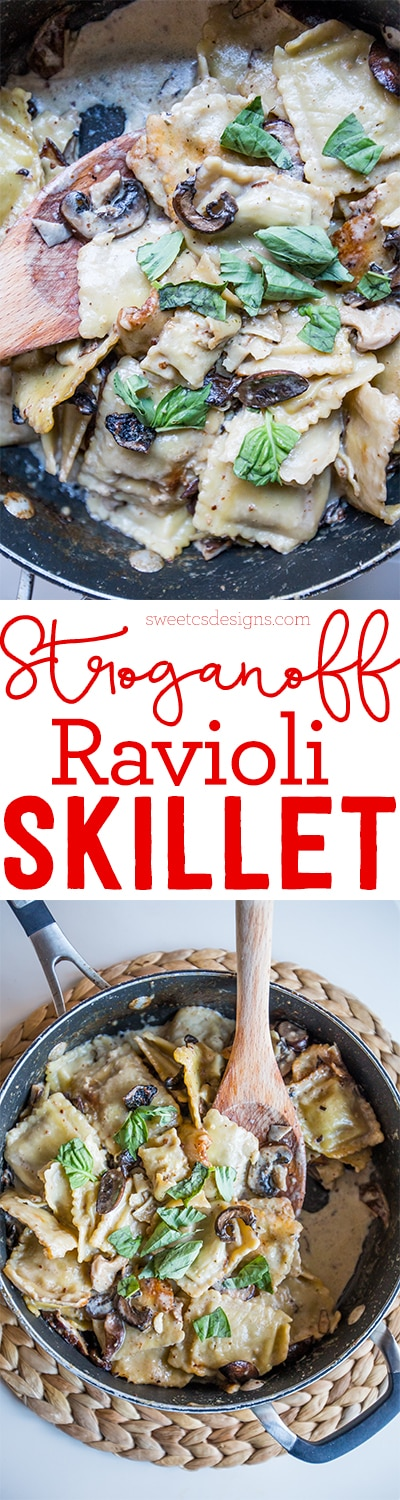 Stroganoff ravioli skillet- this is so delicious and easy to make in less than 15 minutes!