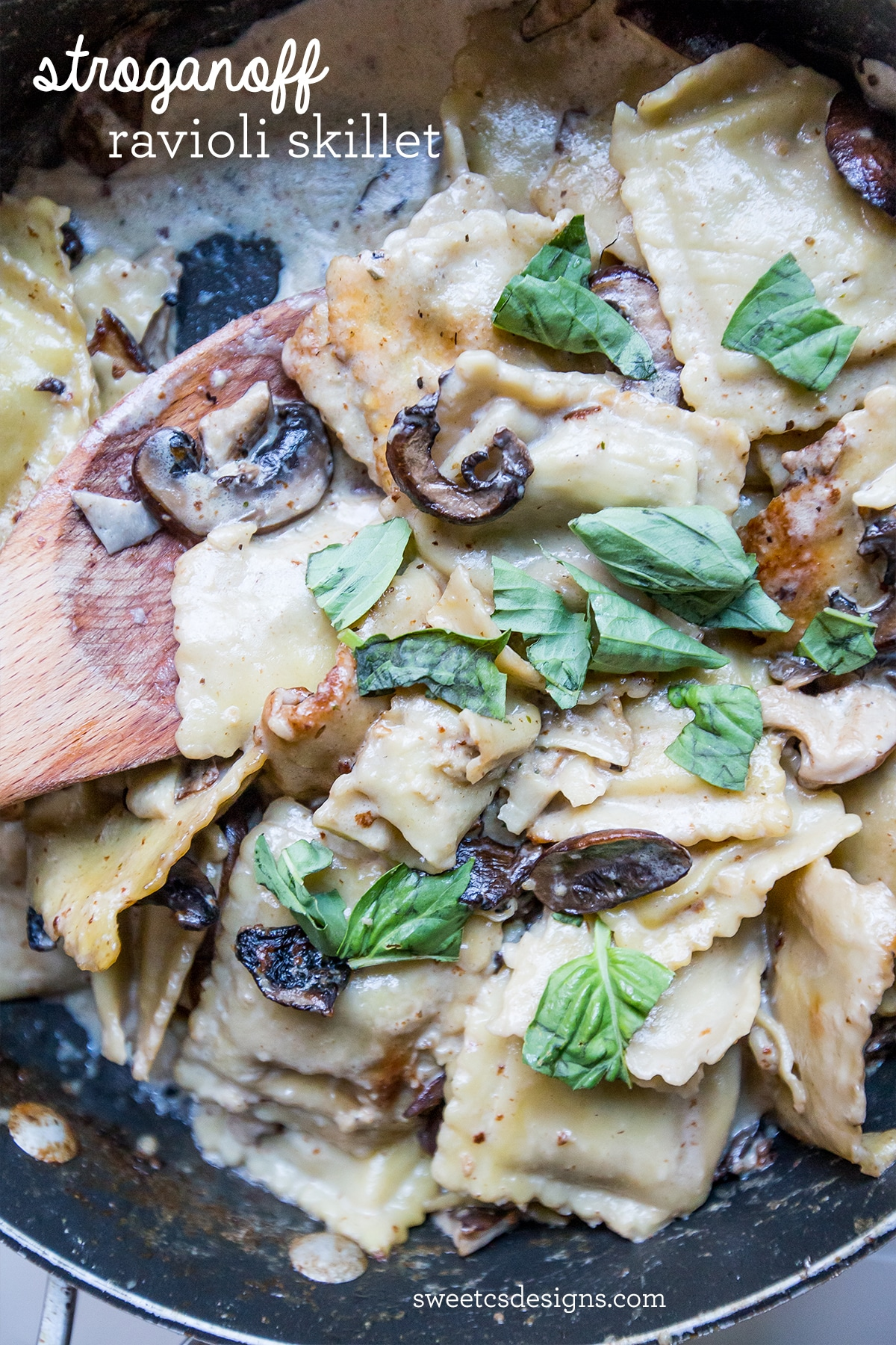 Stroganoff ravioli skillet- this one pot meal is so delicious and easy!