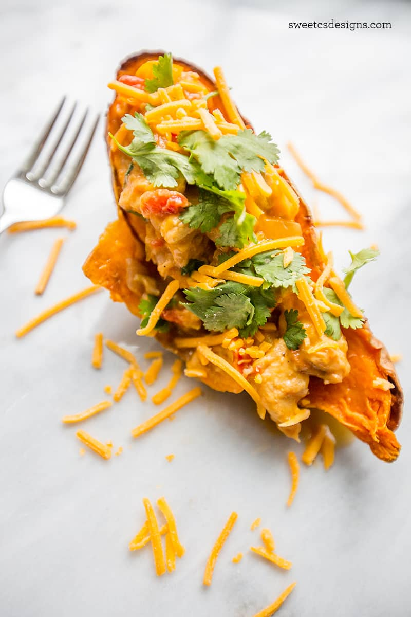 Stuffed sweet potatoes with chicken green chili- low carb and so easy to make!