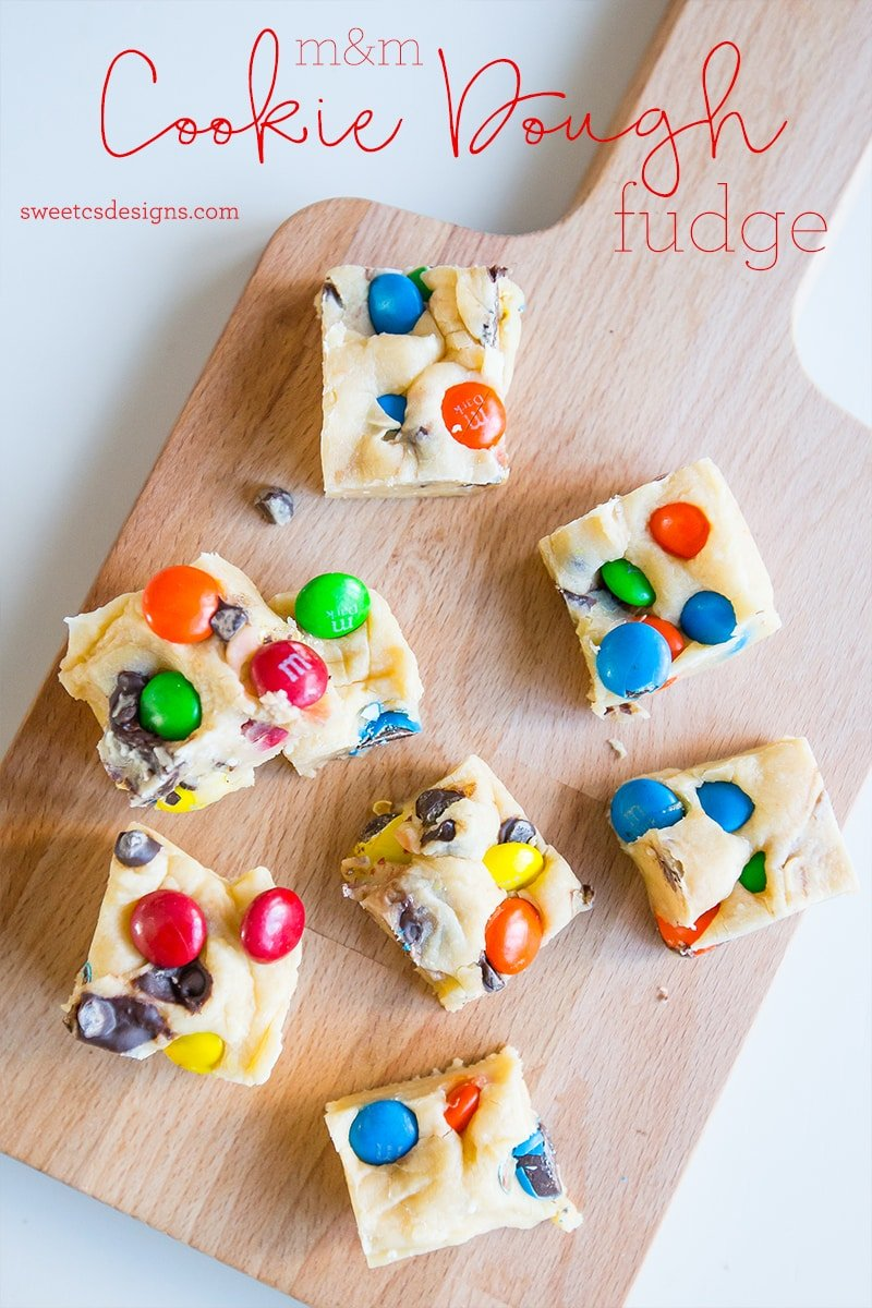 This candy cookie dough fudge is so delicious and can be made in a few minutes!