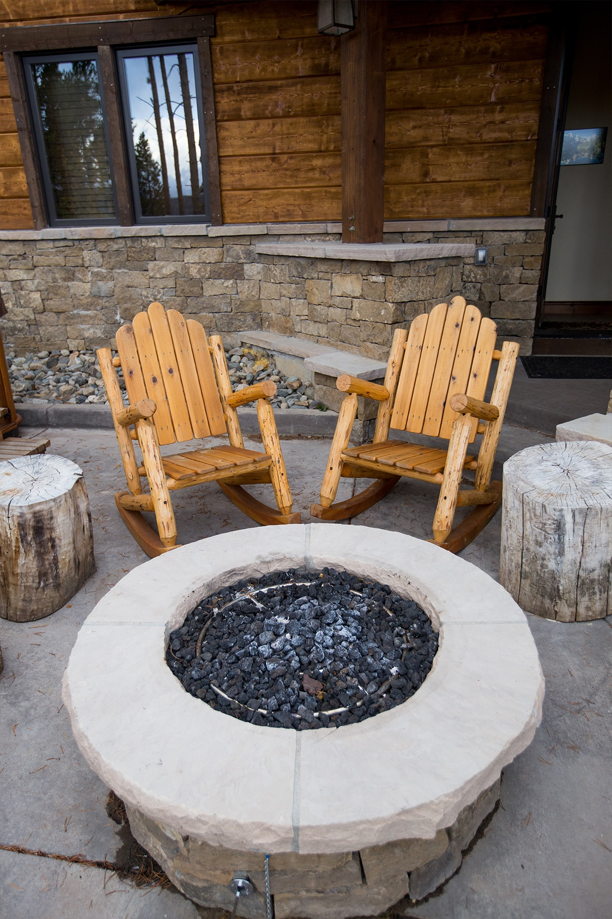 firepit at slopeside manor