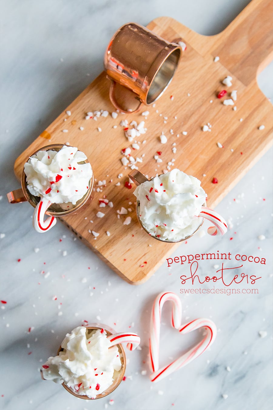 peppermint cocoa shooters- these are a delicious, festive holiday shot everyone loves! Non alcoholic recipe too