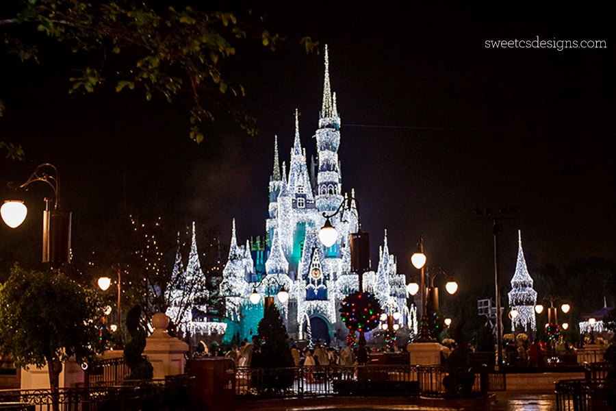 Disney World Castle at Christmas- I love how it looks frozen!