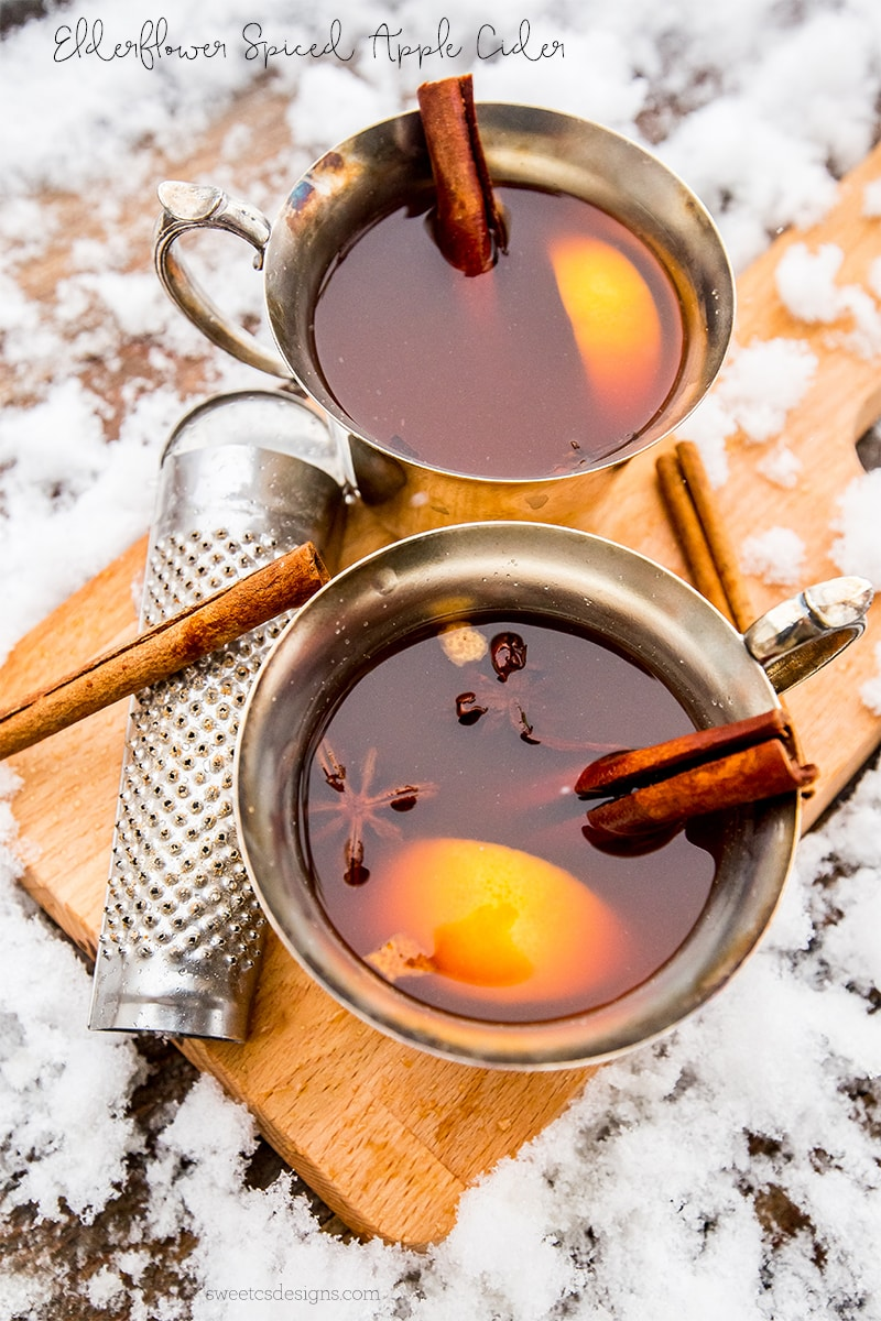 Elderflower Spiced Apple Cider and spiked cider- so delicious, comforting, and easy!