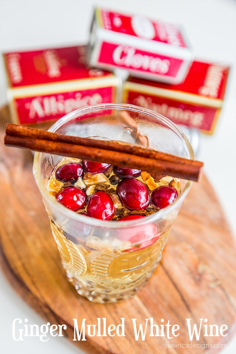 Fruit and ginger mulled white wine- a delicious holiday classic with a fun twist!