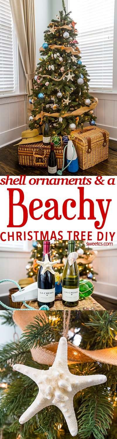 Love this beachy Christmas tree and DIY easy shell ornaments!