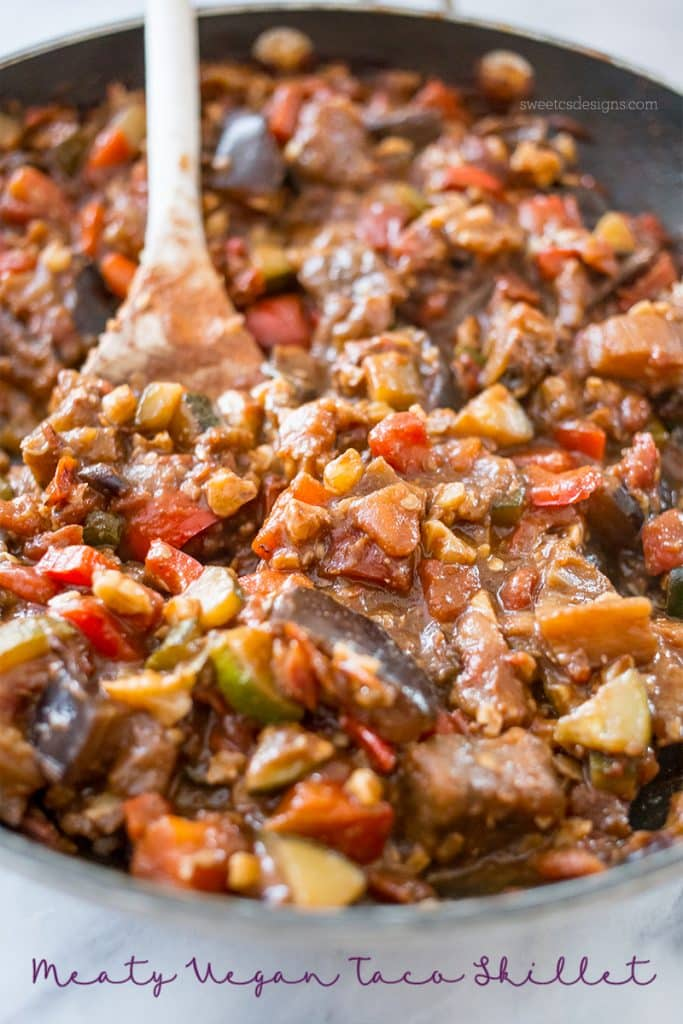 Meaty vegan taco skillet- so delicious and totally vegan and paleo!