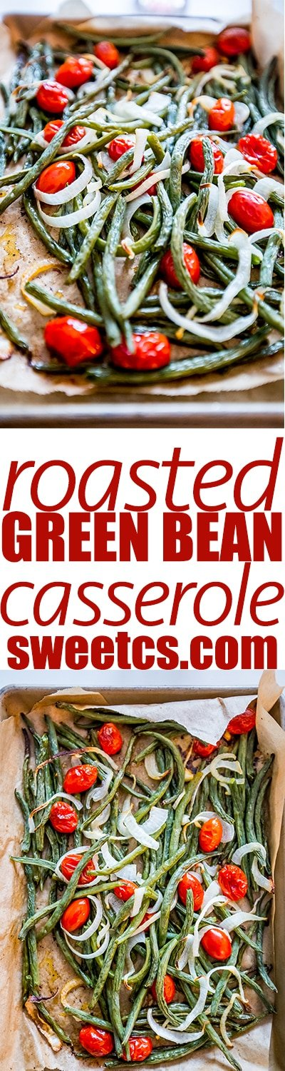 Roasted green bean salad- a delicious, quick and easy healthy side dish!