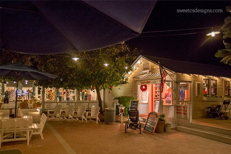 Seaside florida at night- love the shrimp shack and the cute shops!