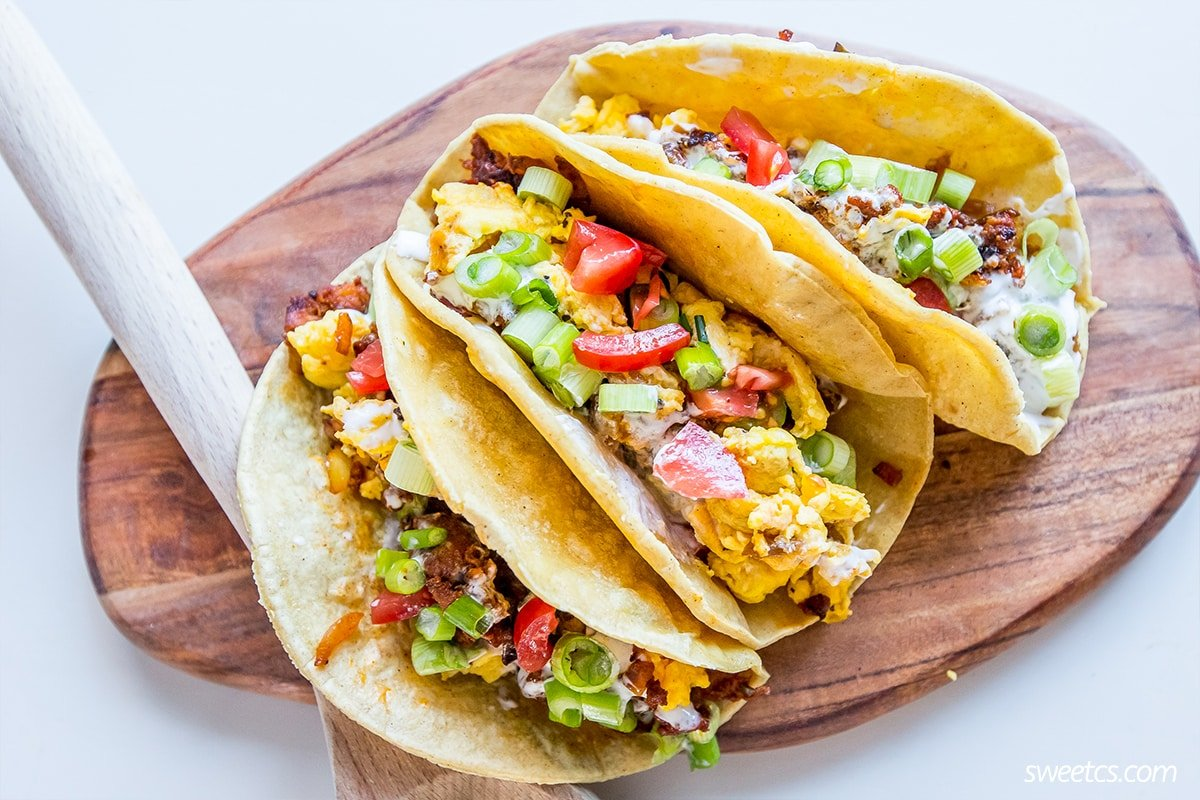 Spicy breakfast tacos- these are delicious, spicy, and so good!