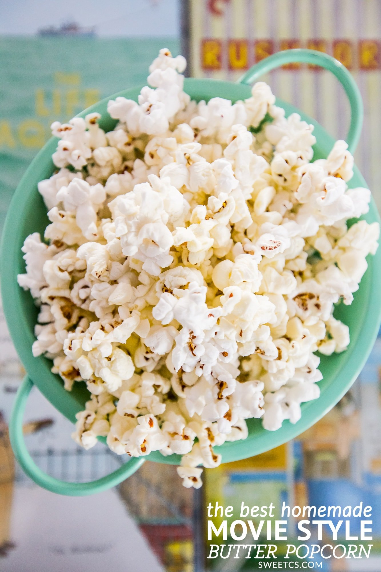 The best homemade butter popcorn- tastes just like the movies with no fake stuff!