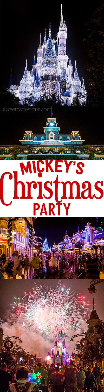 This is such a pretty peek at Mickey's Christmas Party at Disney World! Love all the decorations!