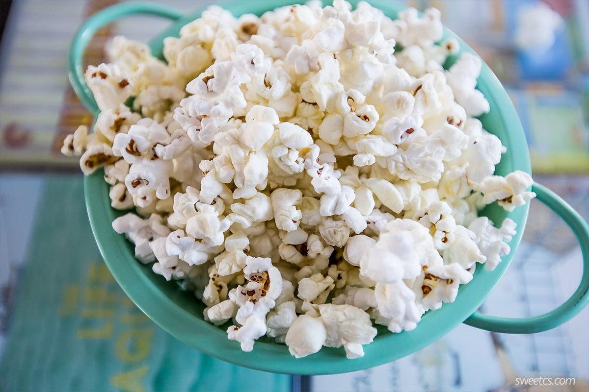 This popcorn is delicious and just like movie theater butter flavor- at home!