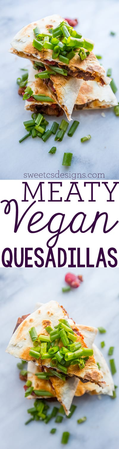 meaty vegan quesadillas- these are so delicious you'd never know they are meat and dairy free!