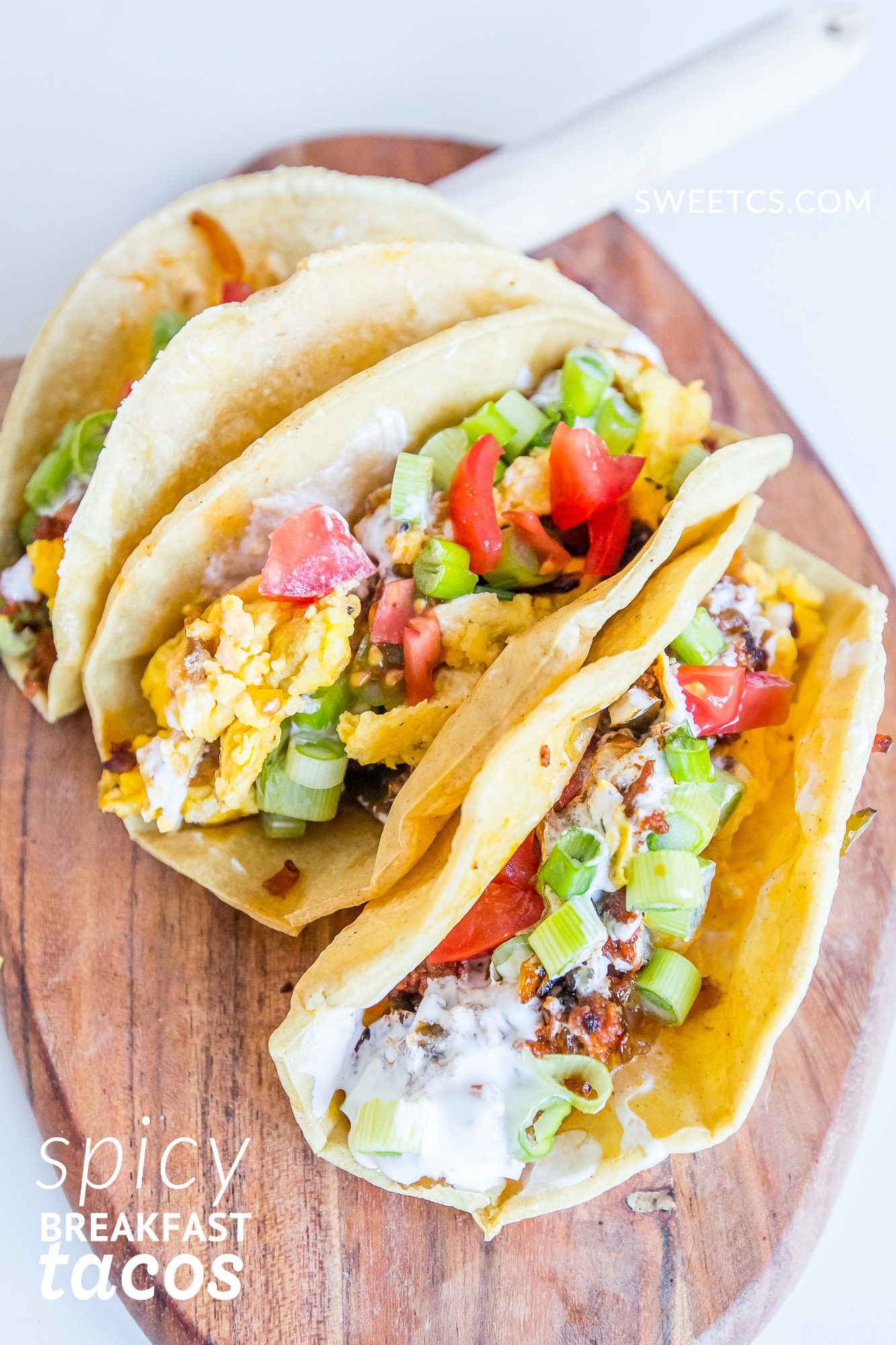 spicy breakfast tacos- these are so easy and delicious!