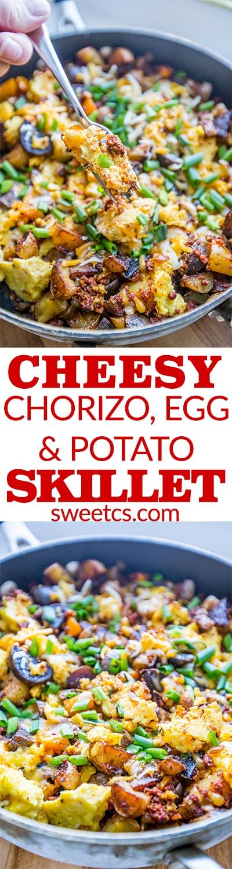 Cheesy chorizo egg and potato skillet - perfect morning noon or night! So tasty!