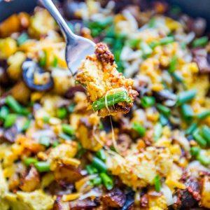 Cheesy Chorizo Egg and Potato Skillet