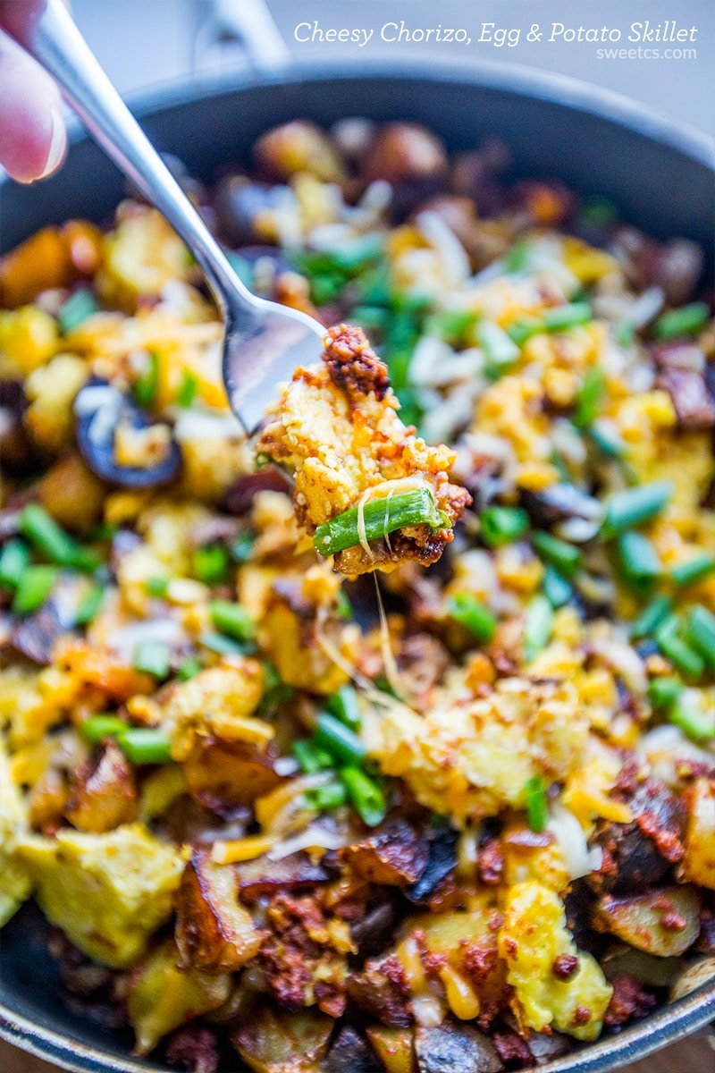Cheesy chorizo, egg and potato skillet- this is such an awesome breakfast!