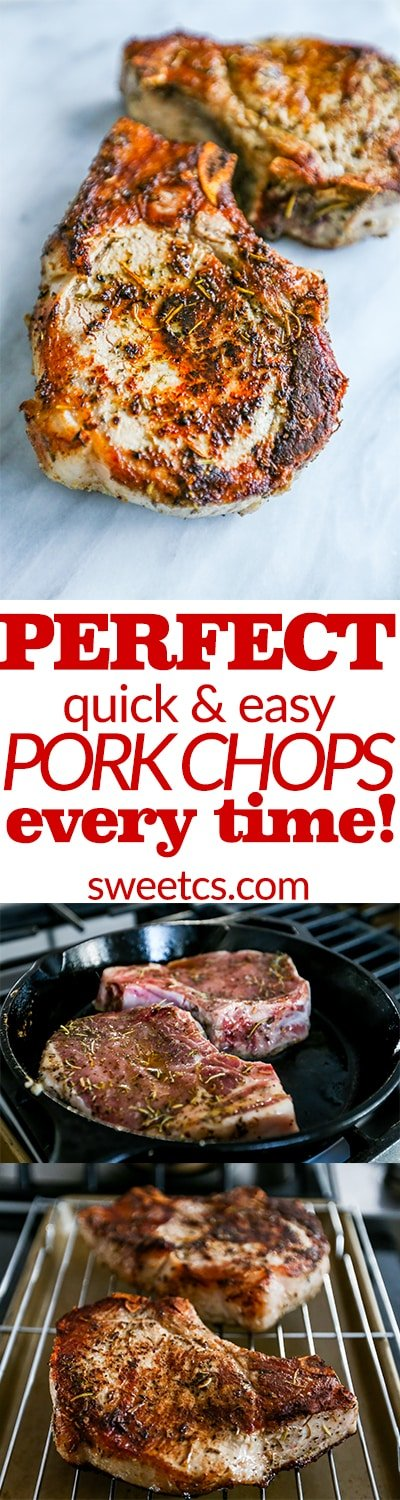 Perfect quick and easy pork chops- get great pork chops every time with this method!