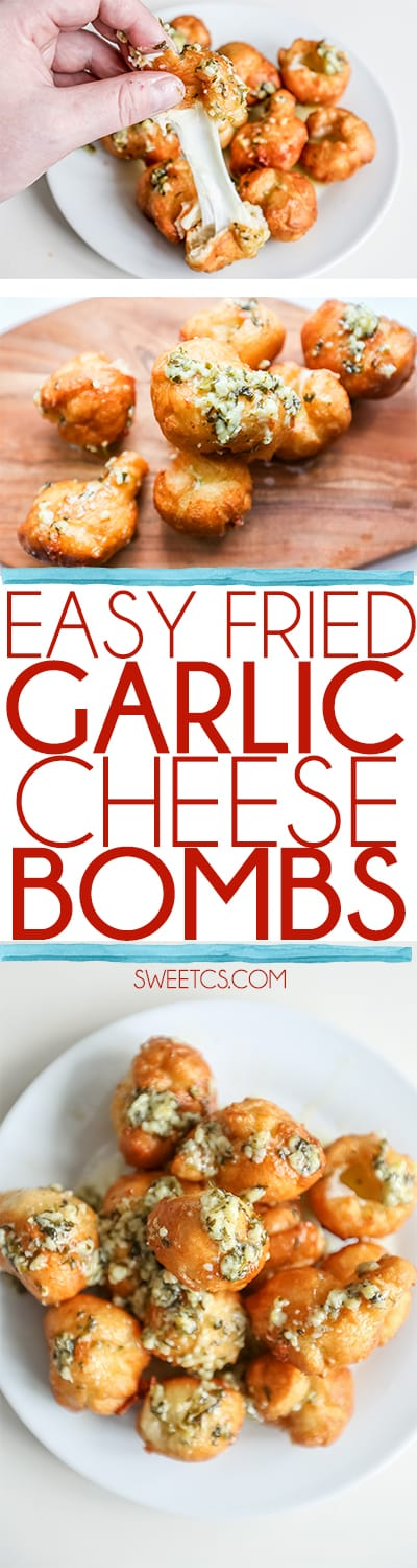 These garlic cheese bombs are so delicious and easy- perfect for parties or the big game!