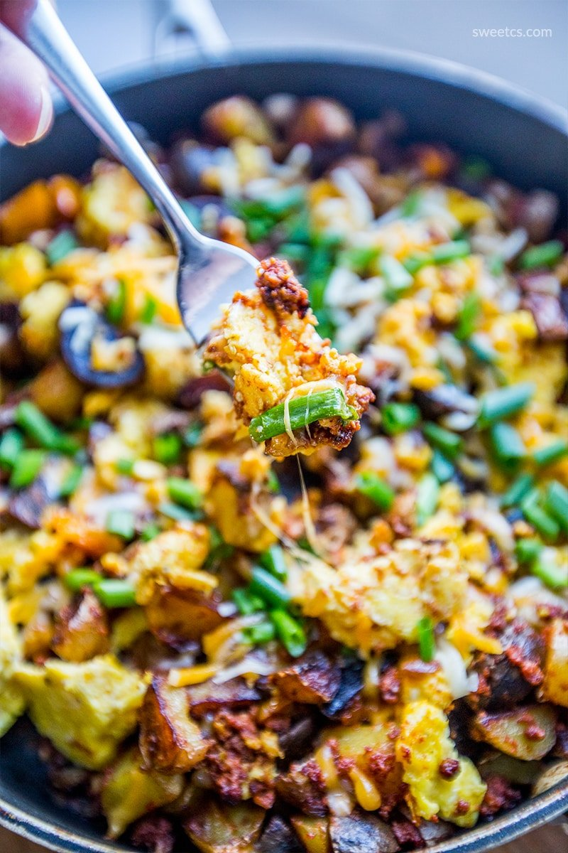 This breakfast is so delicious and easy - love the spicy chorizo, egg, and potatoes!