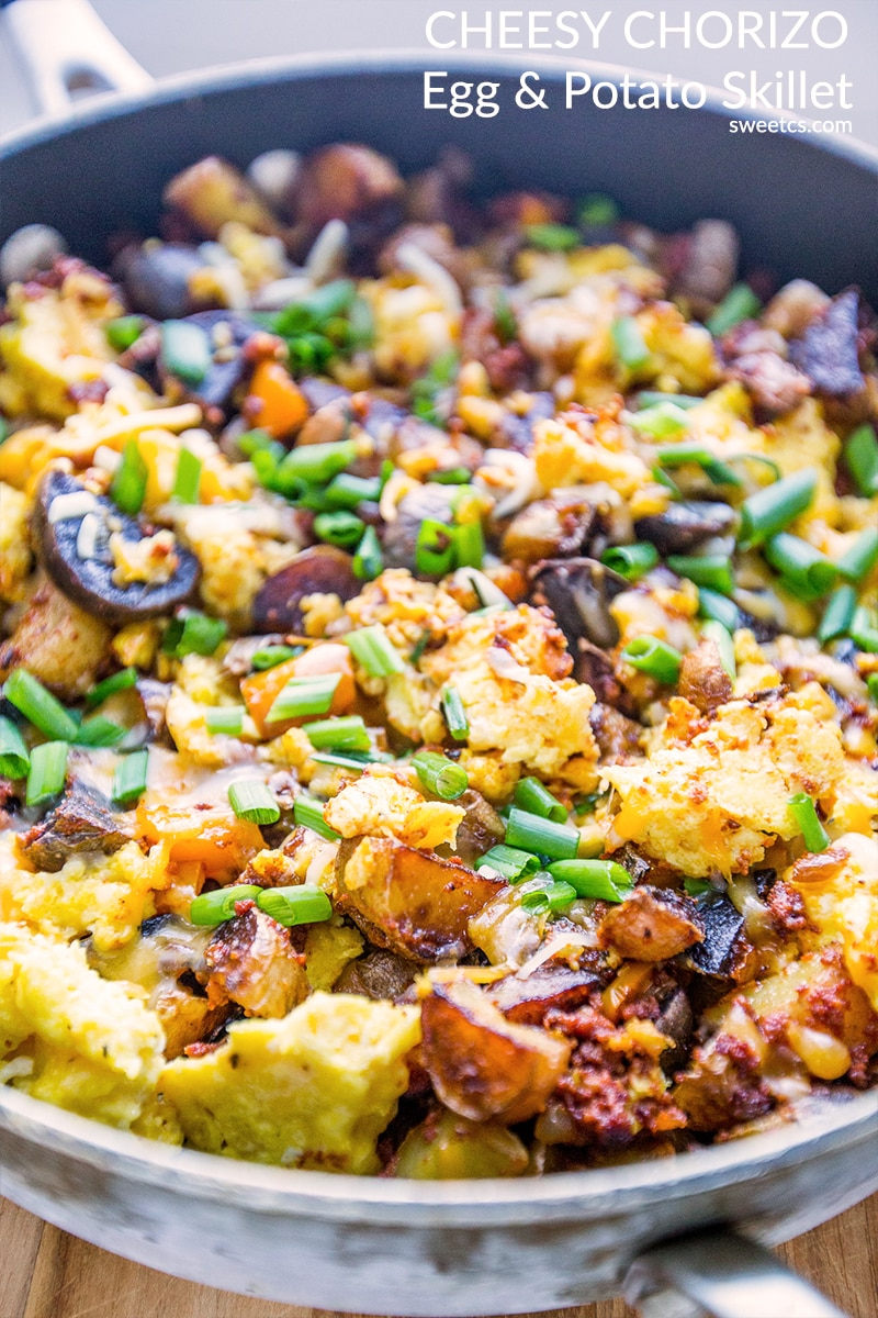 This is the most delicious skillet meal ever- full of cheesy eggs, potato, and chorizo!