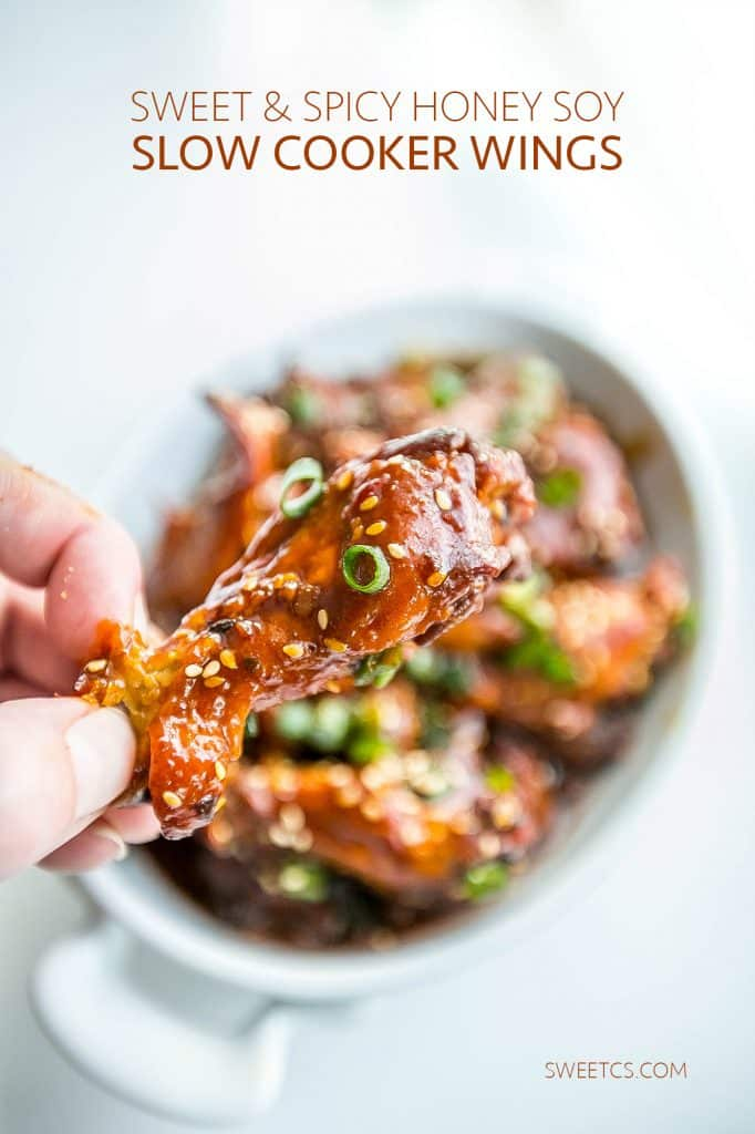 These wings are so delicious- honey soy make them sweet and spicy- just dump in the slow cooker and you're done!