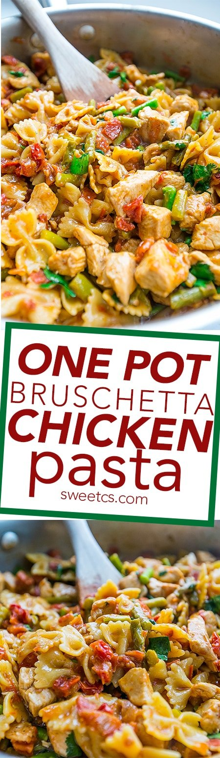 This one pot pasta recipe is full of bruschetta flavors and juicy flavorful chicken- it is our family's new favorite!