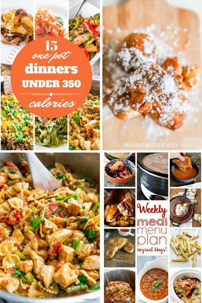 sweet cs designs- 15 one pot dinners, fried peanut butter jelly bombs, one pot bruschetta chicken pasta, weekly menu plan