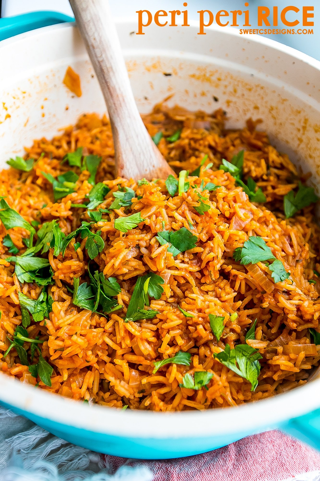 peri peri rice- so delicious! spicy and full of flavor.