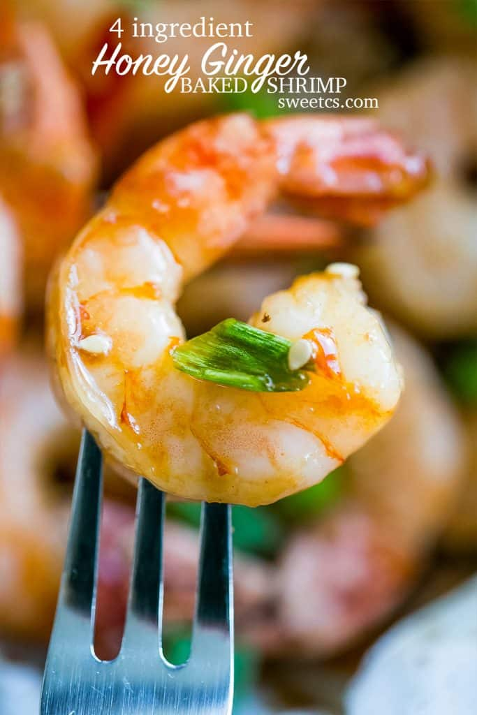 4 Ingredient Honey Ginger Baked Shrimp - this is so delicious and easy!