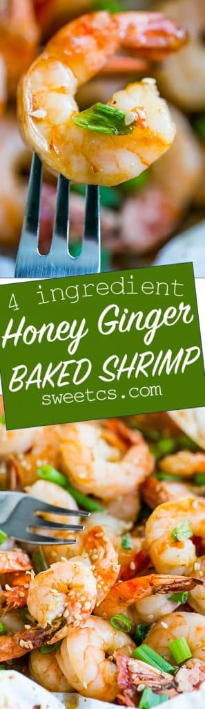 4 ingredient baked shrimp with a delicious honey soy glaze - the easiest most delicious appetizer!
