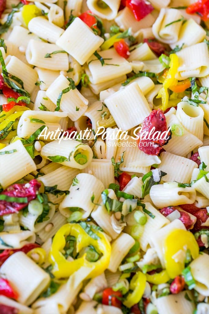 Antipasti pasta salad- so delicious and perfect for potlucks!