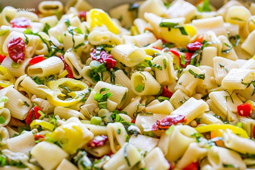 Antipasti pasta salad- vegan and perfect for a crowd!