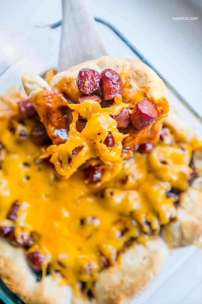 Easy cheesy little smokies bake - this casserole is so delicious with a grands biscuit base!