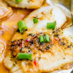 Spicy Garlic Soy Baked Flounder in a Foil Pouch