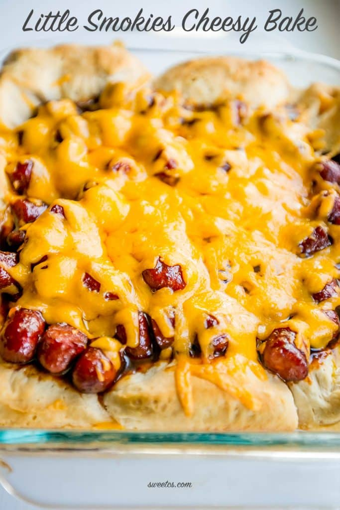 Little Smokies Cheesy Bake- this is simple, delicius, and so easy!