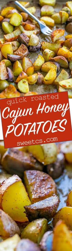 These cajun roasted potatoes with honey are deliciously sweet and spicy!