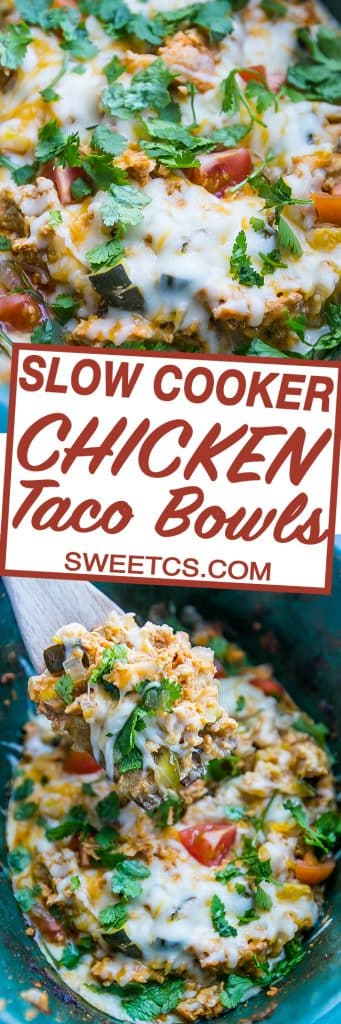 These slow cooker chicken taco bowls are delicious and so tasty! copy