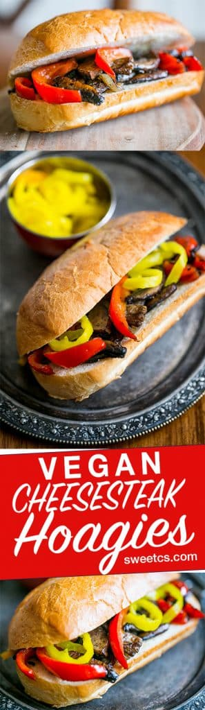 These vegan philly cheesesteak hoagies are so delicious - no weird soy meat or cheese substitutes- just real vegetables and a ton of flavor!!