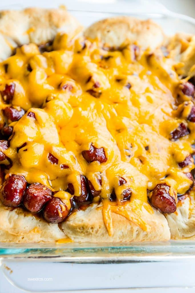 This cheesy little smokies casserole is so delicious - simple and only 4 ingredients!