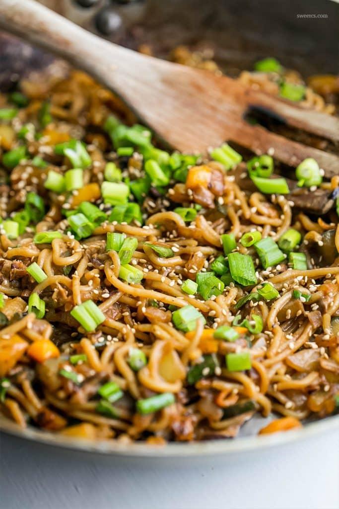 noodles and vegetables in a skillet